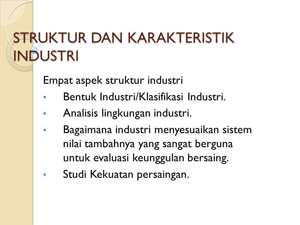 STRUKTUR DAN KARAKTERISTIK INDUSTRI Empat aspek struktur industri Bentuk Industri/Klasifikasi Industri. Analisis lingkungan industri. Bagaimana indust