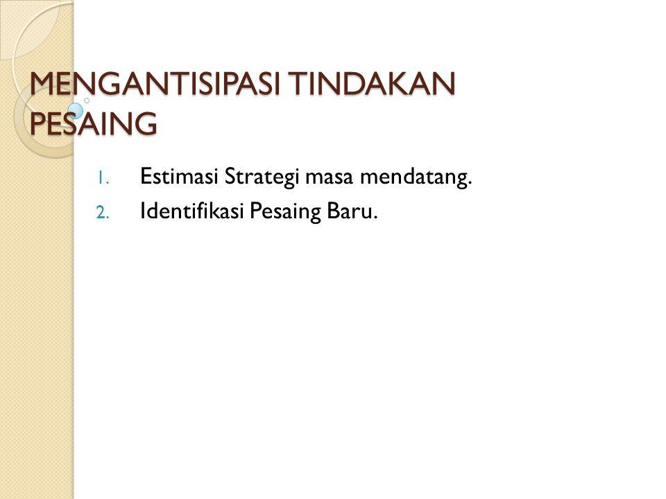 MENGANTISIPASI TINDAKAN PESAING 1. Estimasi Strategi masa mendatang. 2. Identifikasi Pesaing Baru.