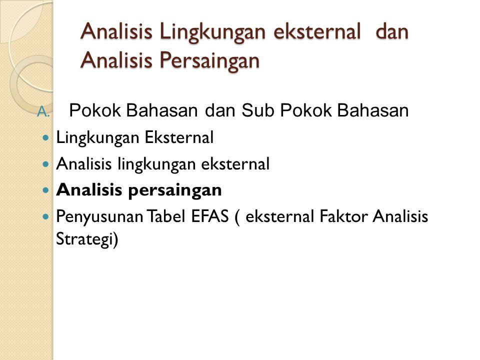 Analisis Lingkungan eksternal dan Analisis Persaingan A. Pokok Bahasan dan Sub Pokok Bahasan Lingkungan Eksternal Analisis lingkungan eksternal Analis