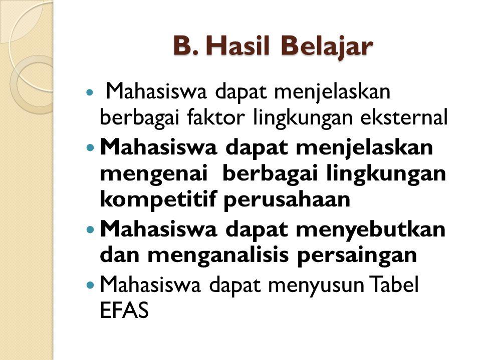 B. Hasil Belajar Mahasiswa dapat menjelaskan berbagai faktor lingkungan eksternal Mahasiswa dapat menjelaskan mengenai berbagai lingkungan kompetitif