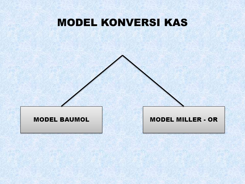 MODEL KONVERSI KAS MODEL BAUMOL MODEL MILLER - OR