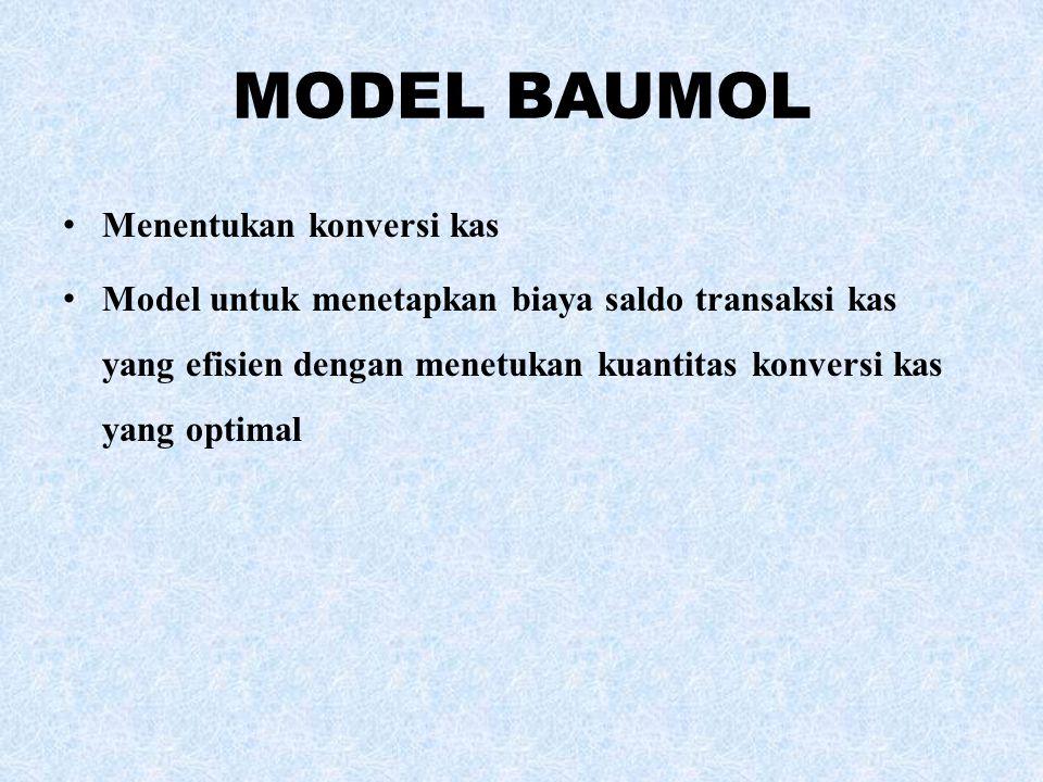 MODEL BAUMOL Menentukan konversi kas Model untuk menetapkan biaya saldo transaksi kas yang efisien dengan menetukan kuantitas konversi kas yang optima