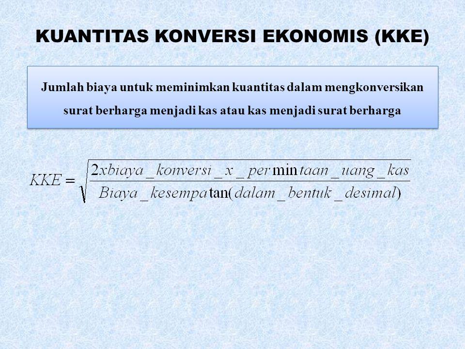 KUANTITAS KONVERSI EKONOMIS (KKE) Jumlah biaya untuk meminimkan kuantitas dalam mengkonversikan surat berharga menjadi kas atau kas menjadi surat berharga