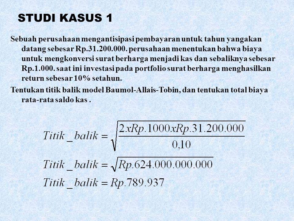 STUDI KASUS 1 Sebuah perusahaan mengantisipasi pembayaran untuk tahun yangakan datang sebesar Rp.31.200.000. perusahaan menentukan bahwa biaya untuk m