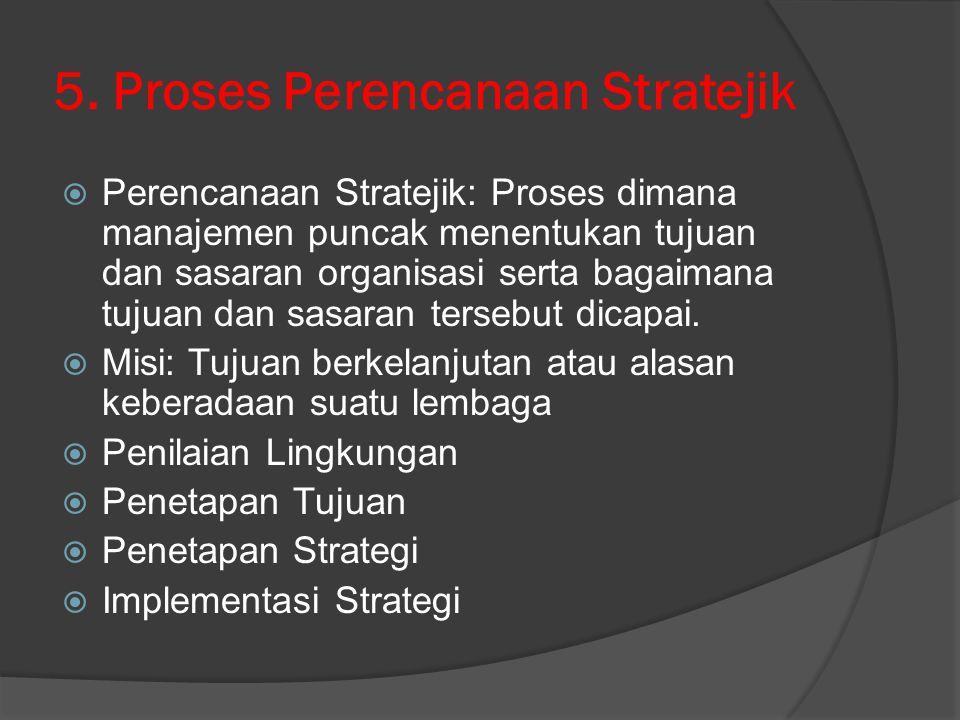 5. Proses Perencanaan Stratejik  Perencanaan Stratejik: Proses dimana manajemen puncak menentukan tujuan dan sasaran organisasi serta bagaimana tujua