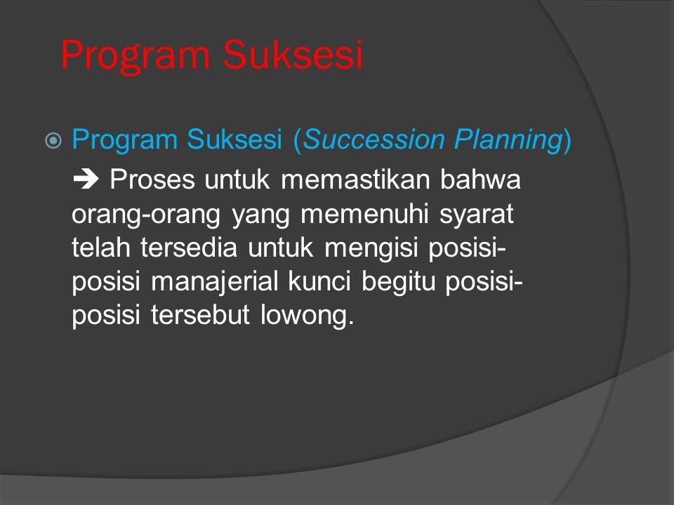Program Suksesi  Program Suksesi (Succession Planning)  Proses untuk memastikan bahwa orang-orang yang memenuhi syarat telah tersedia untuk mengisi