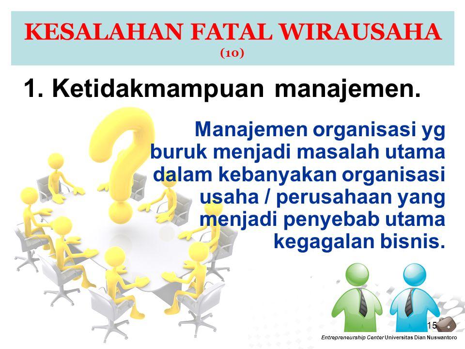 15 KESALAHAN FATAL WIRAUSAHA (10) 1. Ketidakmampuan manajemen. Manajemen organisasi yg buruk menjadi masalah utama dalam kebanyakan organisasi usaha /