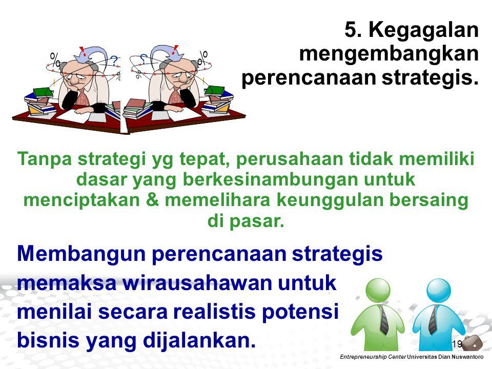 19 5. Kegagalan mengembangkan perencanaan strategis. Entrepreneurship Center Universitas Dian Nuswantoro Tanpa strategi yg tepat, perusahaan tidak mem
