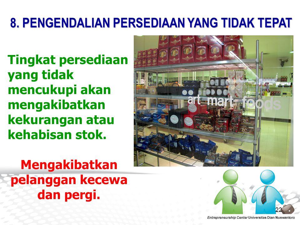 22 Tingkat persediaan yang tidak mencukupi akan mengakibatkan kekurangan atau kehabisan stok. Mengakibatkan pelanggan kecewa dan pergi. 8. PENGENDALIA