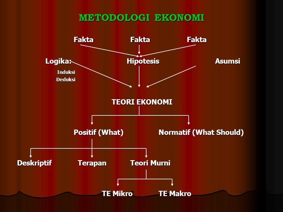 METODOLOGI EKONOMI FaktaFaktaFakta Logika: HipotesisAsumsi Induksi Induksi Deduksi Deduksi TEORI EKONOMI TEORI EKONOMI Positif (What)Normatif (What Sh