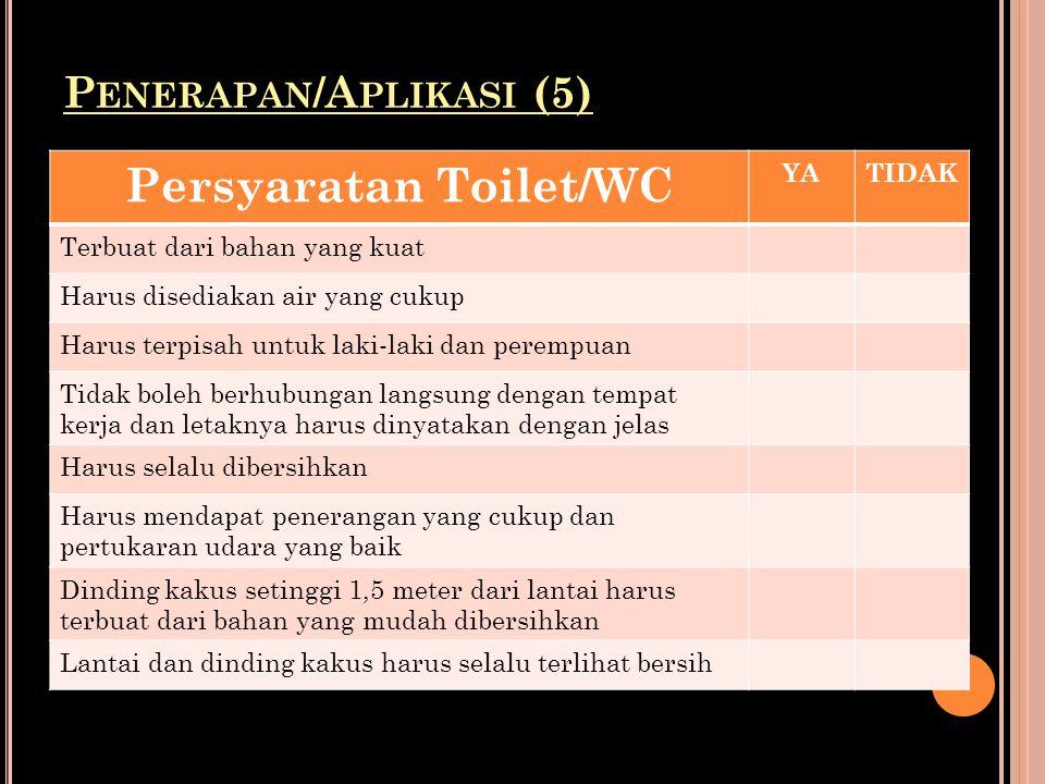 P ENERAPAN /A PLIKASI (5) Persyaratan Toilet/WC YATIDAK Terbuat dari bahan yang kuat Harus disediakan air yang cukup Harus terpisah untuk laki-laki da