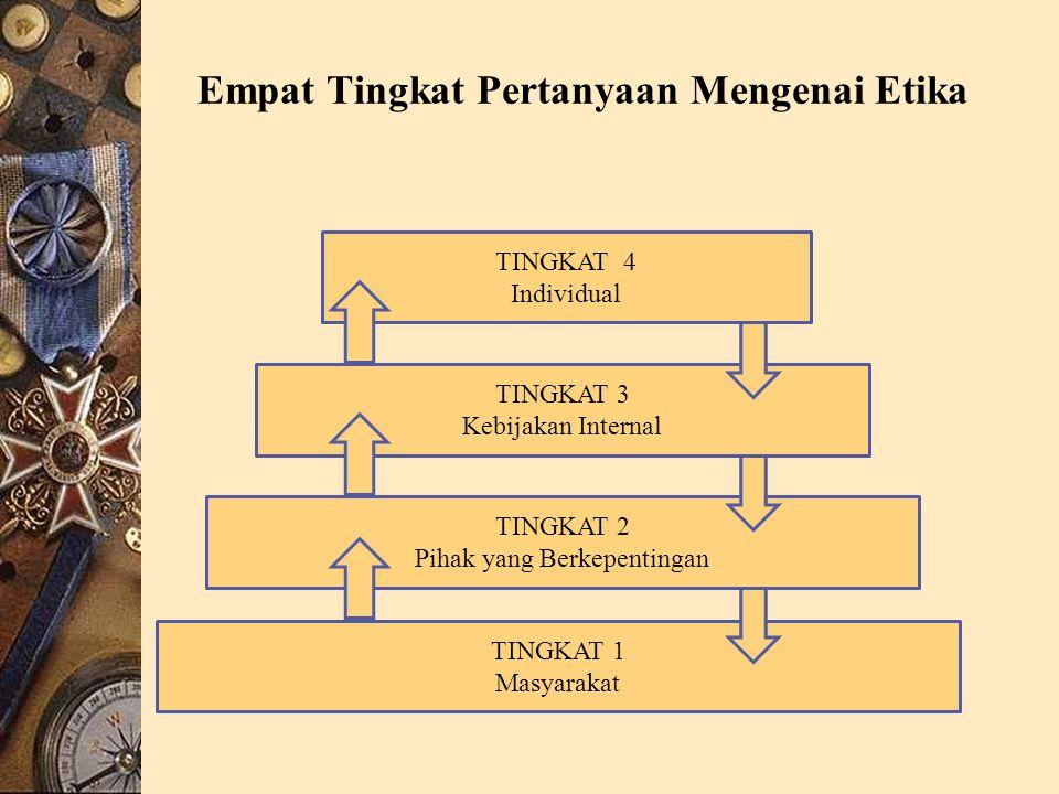 Empat Tingkat Pertanyaan Mengenai Etika TINGKAT 4 Individual TINGKAT 3 Kebijakan Internal TINGKAT 2 Pihak yang Berkepentingan TINGKAT 1 Masyarakat