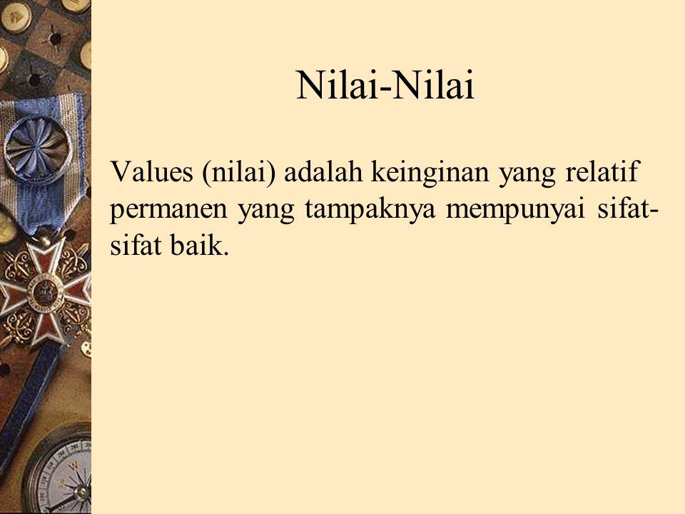 Nilai-Nilai Values (nilai) adalah keinginan yang relatif permanen yang tampaknya mempunyai sifat- sifat baik.