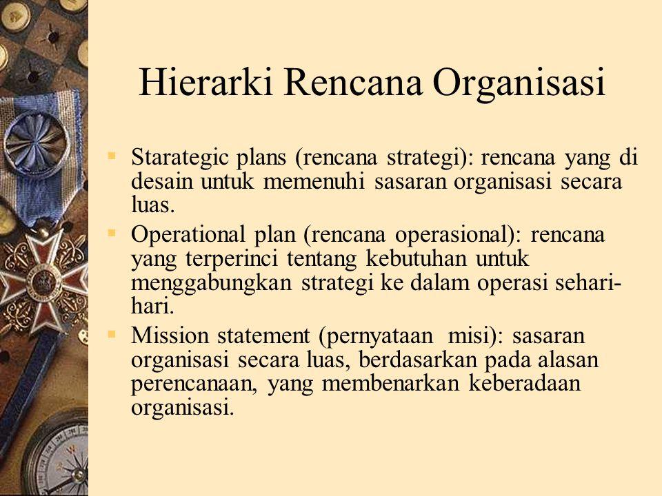 Hierarki Rencana Organisasi  Starategic plans (rencana strategi): rencana yang di desain untuk memenuhi sasaran organisasi secara luas.