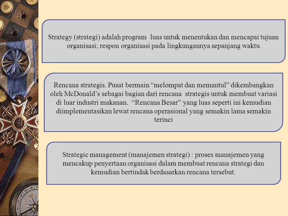 Strategy (strategi) adalah program luas untuk menentukan dan mencapai tujuan organisasi; respon organisasi pada lingkungannya sepanjang waktu Rencana strategis.