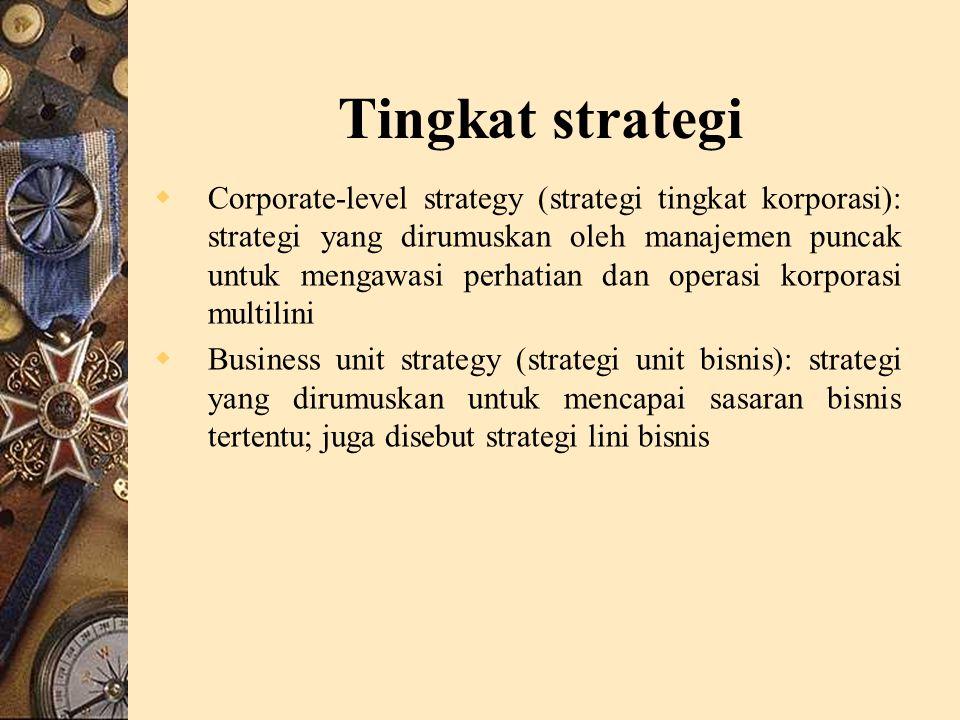 Tingkat strategi  Corporate-level strategy (strategi tingkat korporasi): strategi yang dirumuskan oleh manajemen puncak untuk mengawasi perhatian dan operasi korporasi multilini  Business unit strategy (strategi unit bisnis): strategi yang dirumuskan untuk mencapai sasaran bisnis tertentu; juga disebut strategi lini bisnis