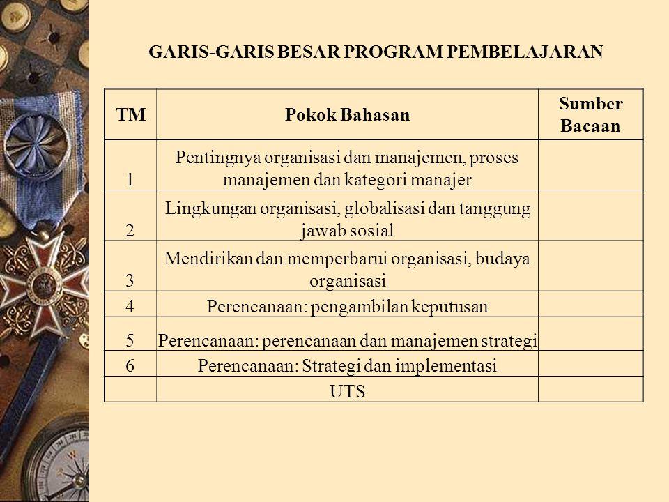 TMPokok Bahasan Sumber Bacaan 1 Pentingnya organisasi dan manajemen, proses manajemen dan kategori manajer 2 Lingkungan organisasi, globalisasi dan tanggung jawab sosial 3 Mendirikan dan memperbarui organisasi, budaya organisasi 4Perencanaan: pengambilan keputusan 5Perencanaan: perencanaan dan manajemen strategi 6Perencanaan: Strategi dan implementasi UTS GARIS-GARIS BESAR PROGRAM PEMBELAJARAN