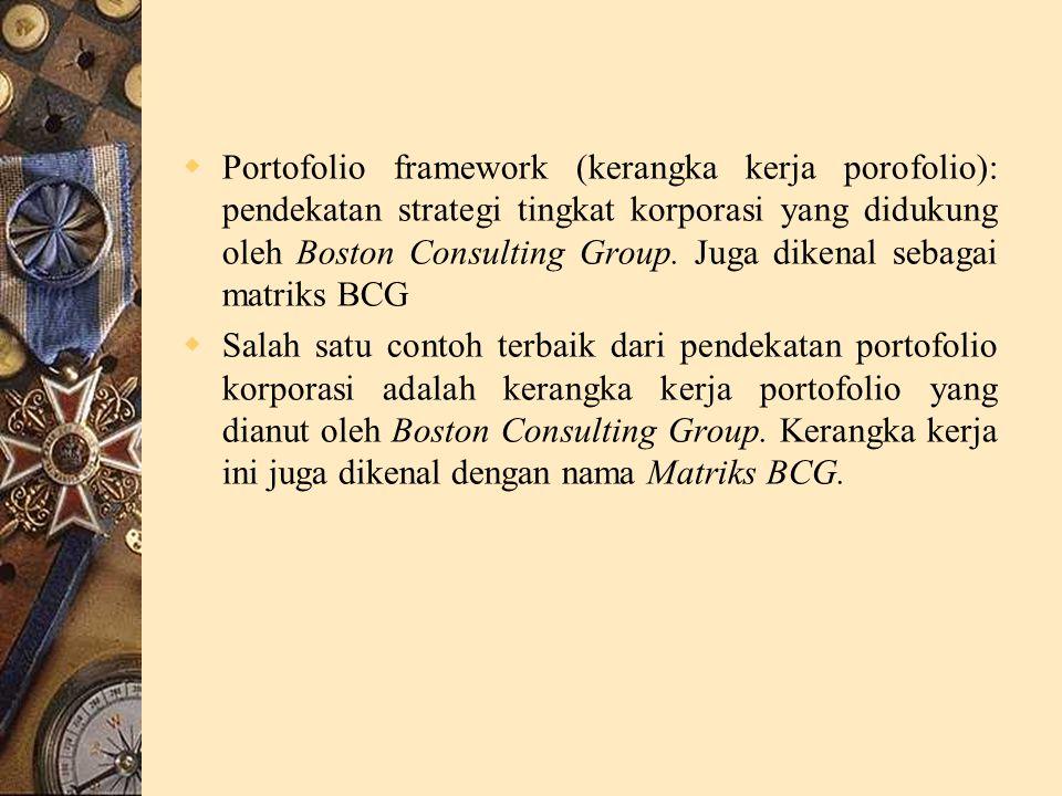  Portofolio framework (kerangka kerja porofolio): pendekatan strategi tingkat korporasi yang didukung oleh Boston Consulting Group.