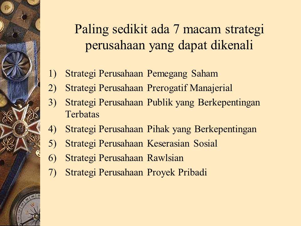 Paling sedikit ada 7 macam strategi perusahaan yang dapat dikenali 1)Strategi Perusahaan Pemegang Saham 2)Strategi Perusahaan Prerogatif Manajerial 3)Strategi Perusahaan Publik yang Berkepentingan Terbatas 4)Strategi Perusahaan Pihak yang Berkepentingan 5)Strategi Perusahaan Keserasian Sosial 6)Strategi Perusahaan Rawlsian 7)Strategi Perusahaan Proyek Pribadi