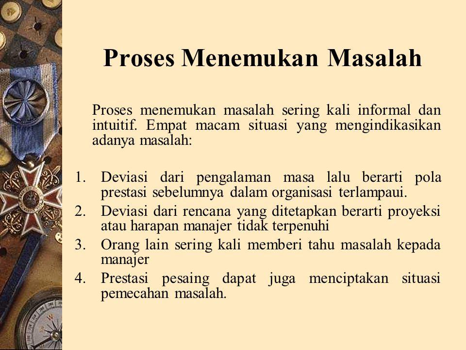 Proses Menemukan Masalah Proses menemukan masalah sering kali informal dan intuitif.