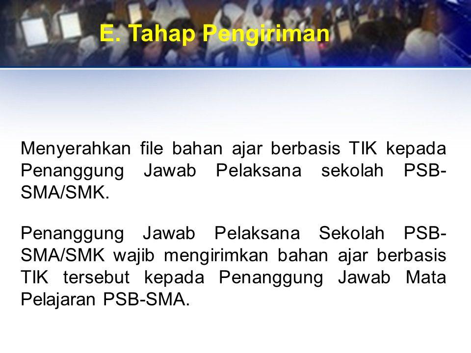 E. Tahap Pengiriman Menyerahkan file bahan ajar berbasis TIK kepada Penanggung Jawab Pelaksana sekolah PSB- SMA/SMK. Penanggung Jawab Pelaksana Sekola