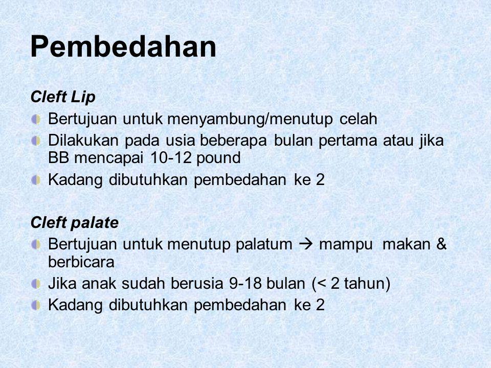 Pembedahan Cleft Lip Bertujuan untuk menyambung/menutup celah Dilakukan pada usia beberapa bulan pertama atau jika BB mencapai 10-12 pound Kadang dibu