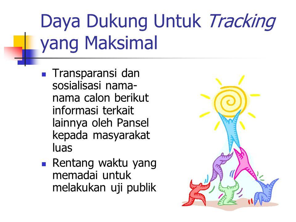 Daya Dukung Untuk Tracking yang Maksimal Transparansi dan sosialisasi nama- nama calon berikut informasi terkait lainnya oleh Pansel kepada masyarakat