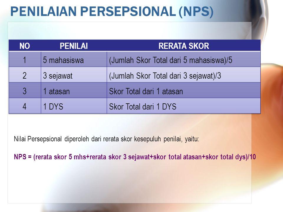 PENILAIAN PERSEPSIONAL (NPS) Nilai Persepsional diperoleh dari rerata skor kesepuluh penilai, yaitu: NPS = (rerata skor 5 mhs+rerata skor 3 sejawat+sk