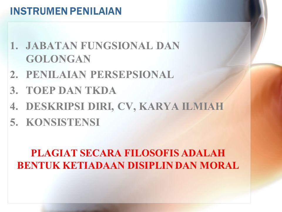 INSTRUMEN PENILAIAN 1.JABATAN FUNGSIONAL DAN GOLONGAN 2.PENILAIAN PERSEPSIONAL 3. TOEP DAN TKDA 4.DESKRIPSI DIRI, CV, KARYA ILMIAH 5. KONSISTENSI PLAG