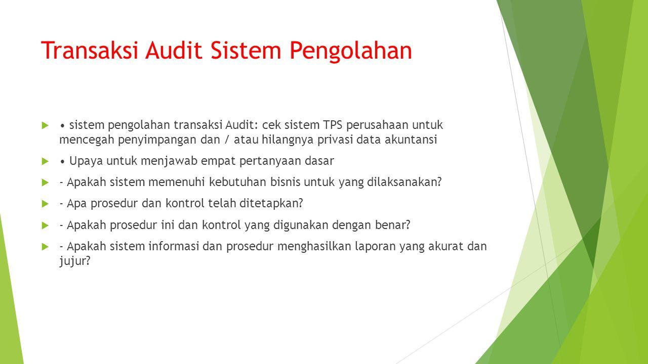Transaksi Audit Sistem Pengolahan  sistem pengolahan transaksi Audit: cek sistem TPS perusahaan untuk mencegah penyimpangan dan / atau hilangnya privasi data akuntansi  Upaya untuk menjawab empat pertanyaan dasar  - Apakah sistem memenuhi kebutuhan bisnis untuk yang dilaksanakan.