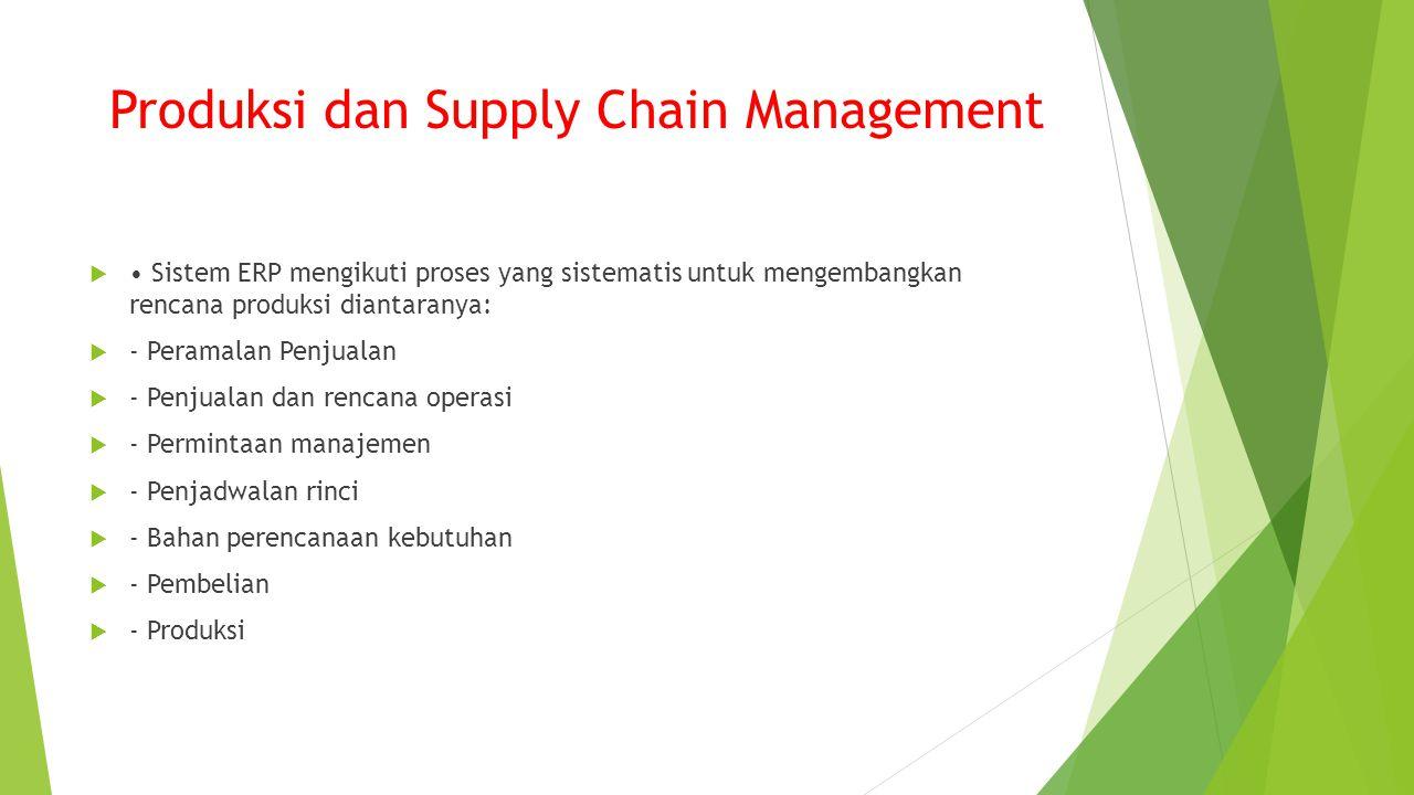 Produksi dan Supply Chain Management  Sistem ERP mengikuti proses yang sistematis untuk mengembangkan rencana produksi diantaranya:  - Peramalan Penjualan  - Penjualan dan rencana operasi  - Permintaan manajemen  - Penjadwalan rinci  - Bahan perencanaan kebutuhan  - Pembelian  - Produksi