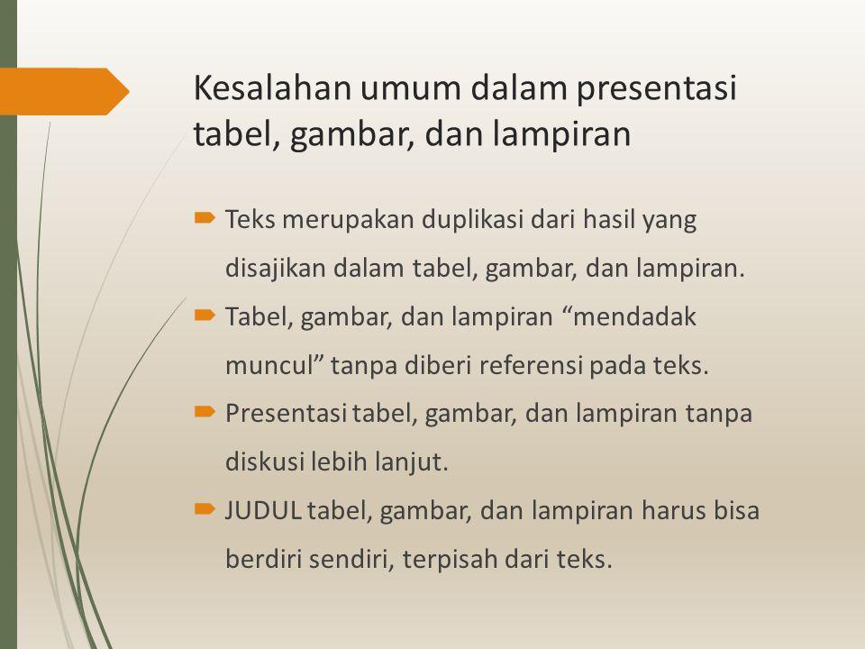 Kesalahan umum dalam presentasi tabel, gambar, dan lampiran  Teks merupakan duplikasi dari hasil yang disajikan dalam tabel, gambar, dan lampiran. 