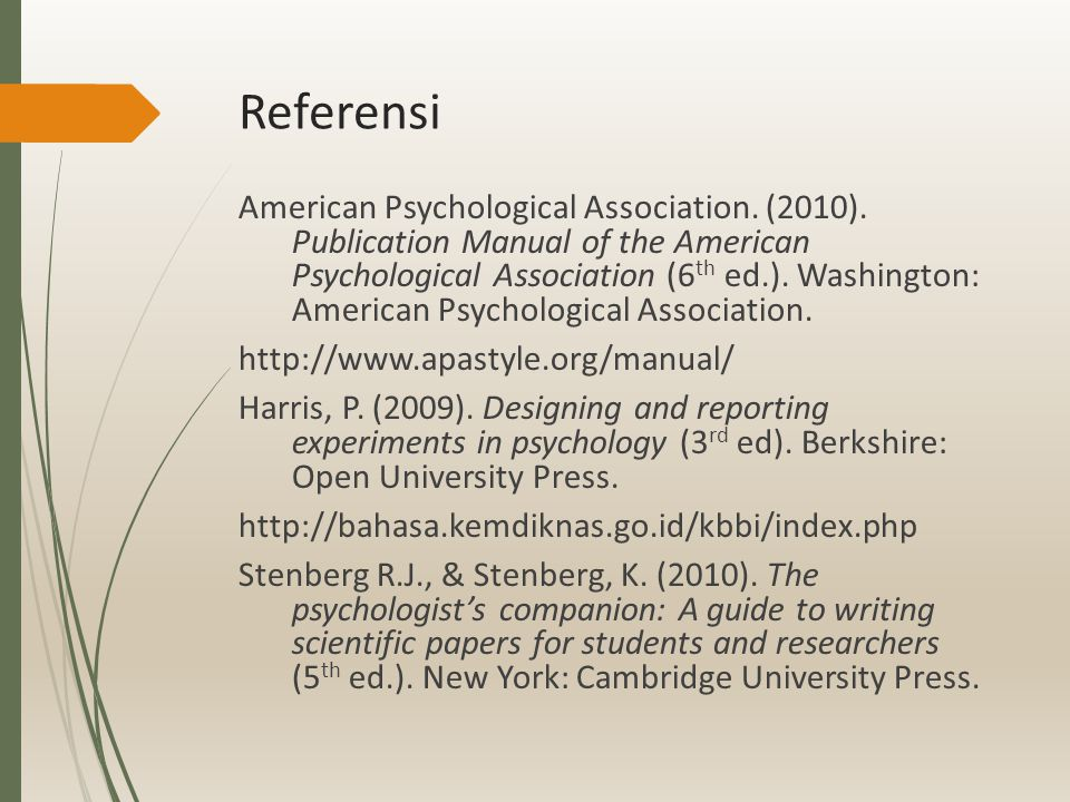 Referensi American Psychological Association. (2010).