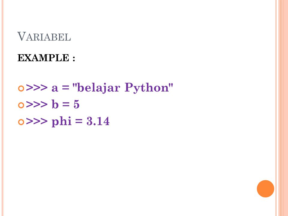 V ARIABEL EXAMPLE : >>> a =