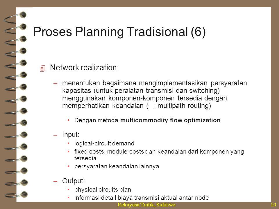 Rekayasa Trafik, Sukiswo10  Network realization: –menentukan bagaimana mengimplementasikan persyaratan kapasitas (untuk peralatan transmisi dan switc