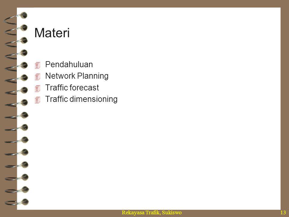 Rekayasa Trafik, Sukiswo13  Pendahuluan  Network Planning  Traffic forecast  Traffic dimensioning Materi