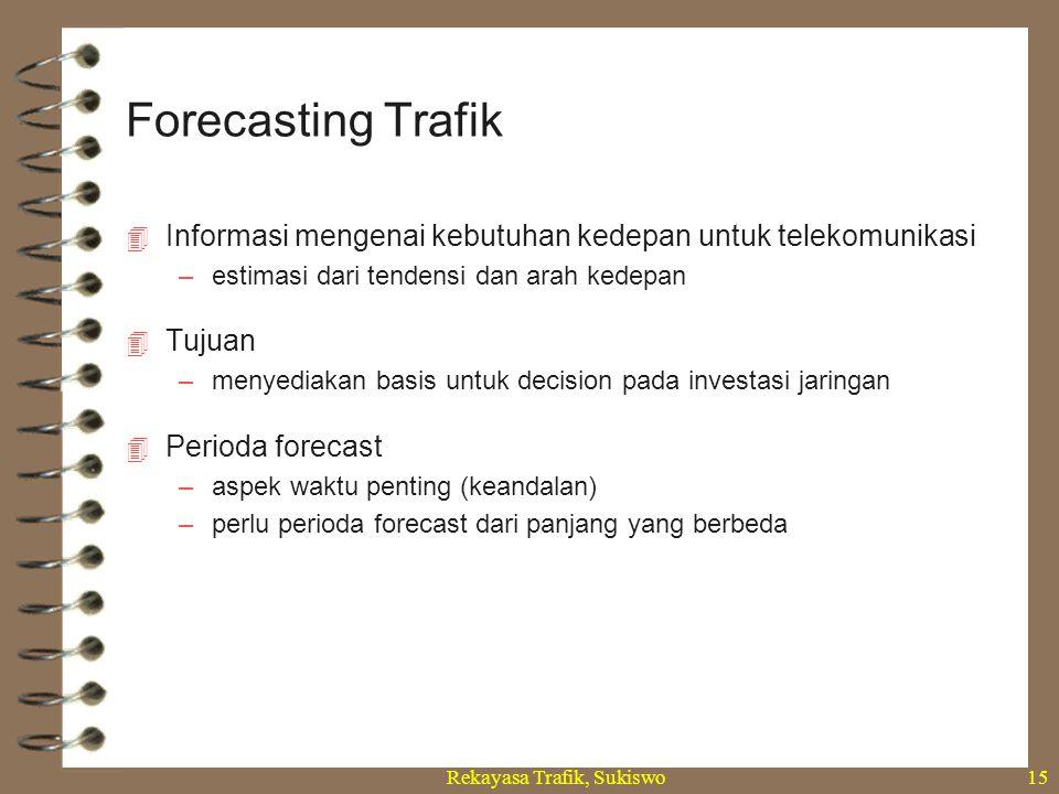 Rekayasa Trafik, Sukiswo15  Informasi mengenai kebutuhan kedepan untuk telekomunikasi –estimasi dari tendensi dan arah kedepan  Tujuan –menyediakan