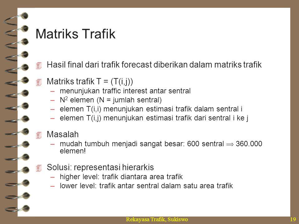 Rekayasa Trafik, Sukiswo19  Hasil final dari trafik forecast diberikan dalam matriks trafik  Matriks trafik T = (T(i,j)) –menunjukan traffic interes