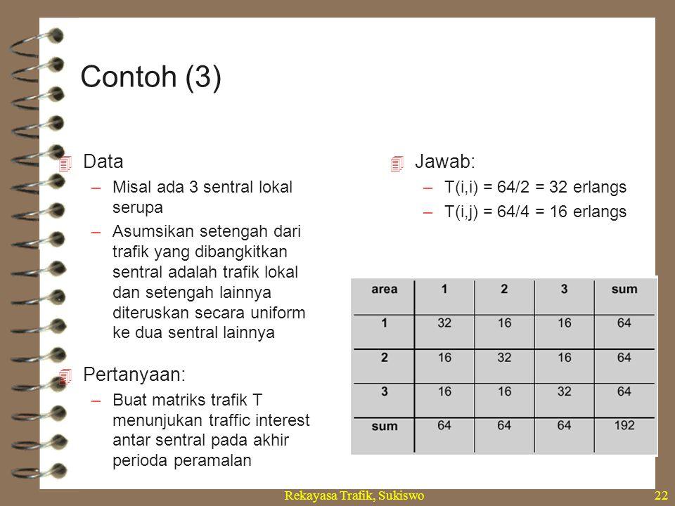 Rekayasa Trafik, Sukiswo22  Data –Misal ada 3 sentral lokal serupa –Asumsikan setengah dari trafik yang dibangkitkan sentral adalah trafik lokal dan