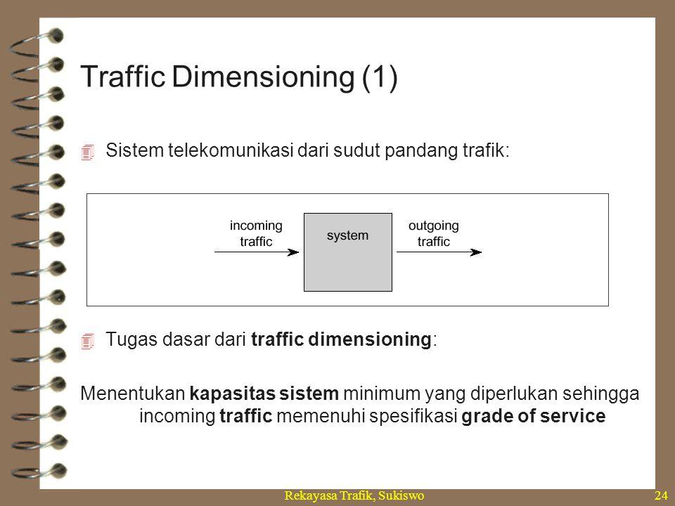 Rekayasa Trafik, Sukiswo24  Sistem telekomunikasi dari sudut pandang trafik:  Tugas dasar dari traffic dimensioning: Menentukan kapasitas sistem min