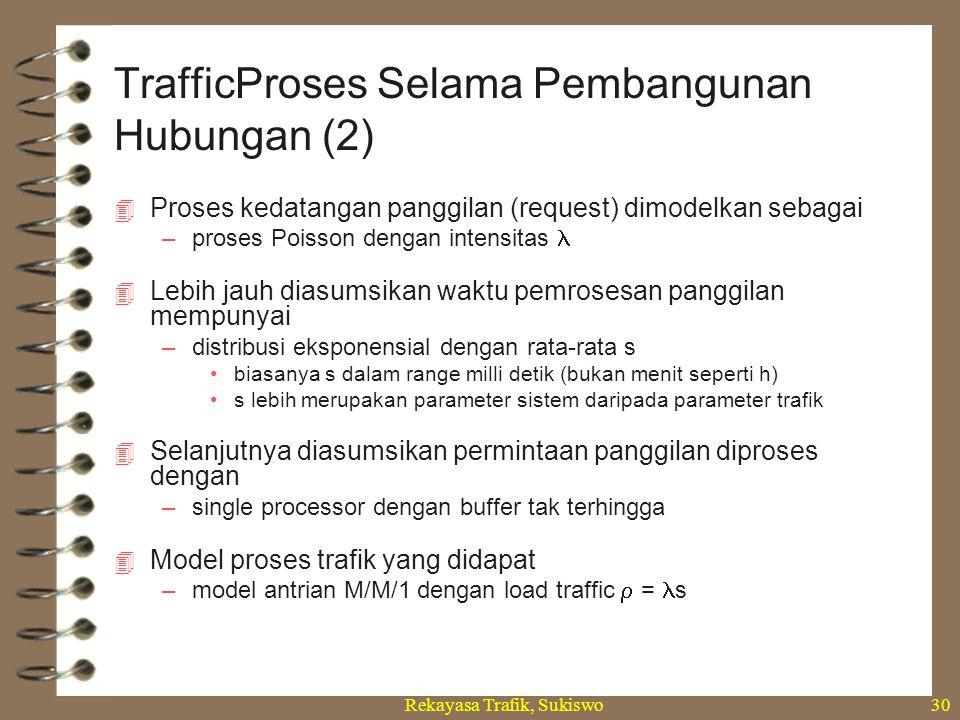 Rekayasa Trafik, Sukiswo30  Proses kedatangan panggilan (request) dimodelkan sebagai –proses Poisson dengan intensitas  Lebih jauh diasumsikan waktu