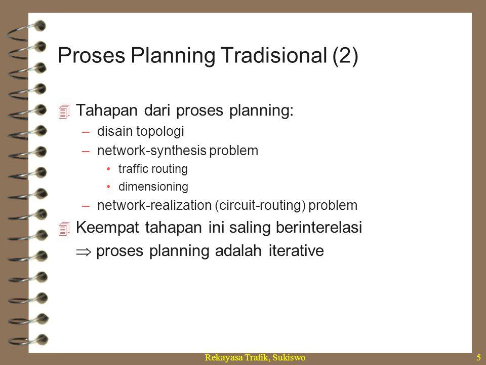 Rekayasa Trafik, Sukiswo5  Tahapan dari proses planning: –disain topologi –network-synthesis problem traffic routing dimensioning –network-realizatio