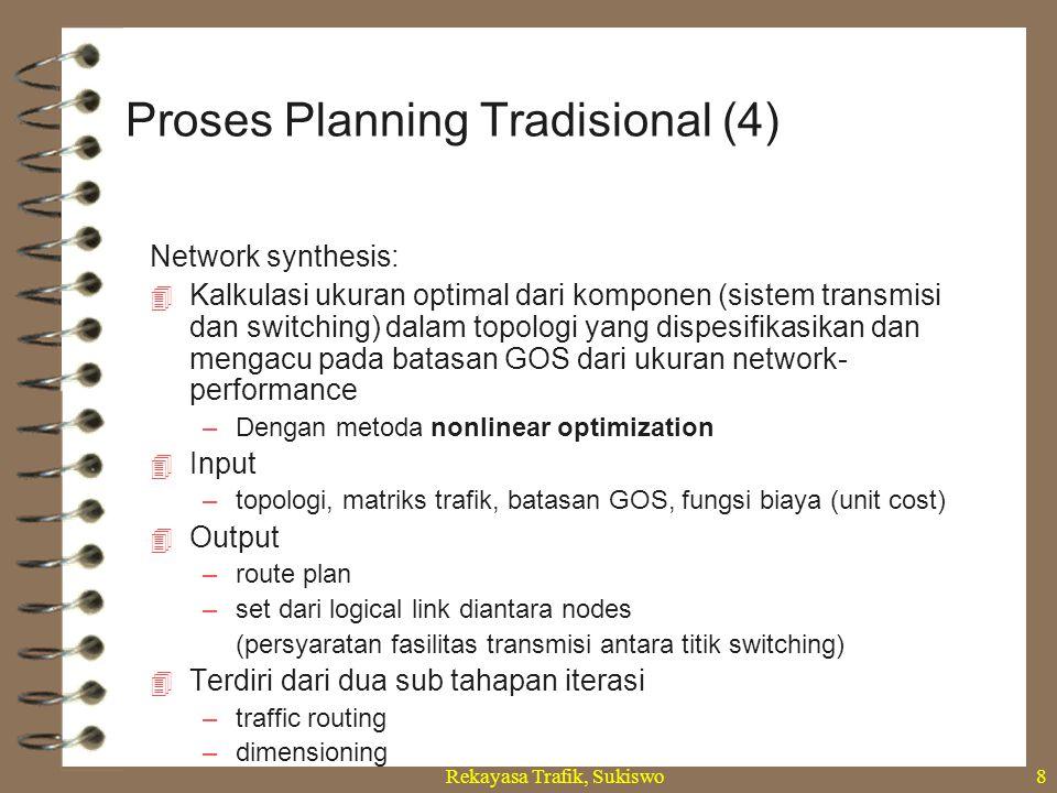 Rekayasa Trafik, Sukiswo8 Network synthesis:  Kalkulasi ukuran optimal dari komponen (sistem transmisi dan switching) dalam topologi yang dispesifika