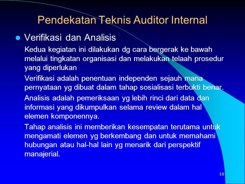Verifikasi dan Analisis Kedua kegiatan ini dilakukan dg cara bergerak ke bawah melalui tingkatan organisasi dan melakukan telaah prosedur yang diperlu
