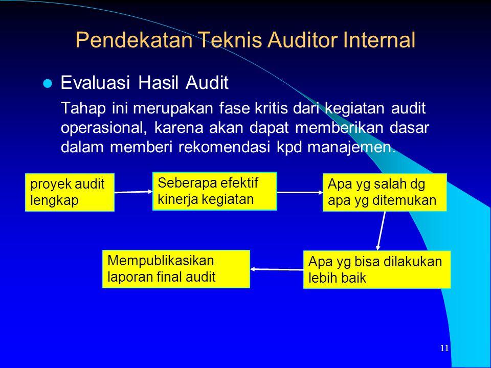 Evaluasi Hasil Audit Tahap ini merupakan fase kritis dari kegiatan audit operasional, karena akan dapat memberikan dasar dalam memberi rekomendasi kpd