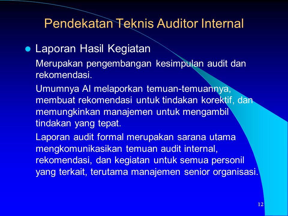 Laporan Hasil Kegiatan Merupakan pengembangan kesimpulan audit dan rekomendasi. Umumnya AI melaporkan temuan-temuannya, membuat rekomendasi untuk tind