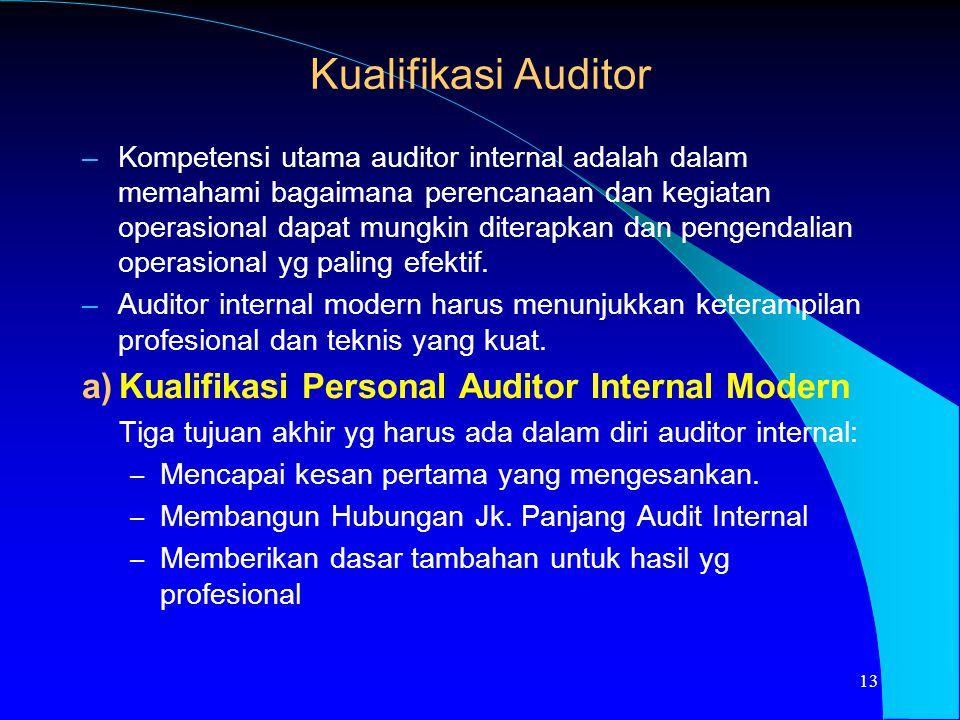 Kualifikasi Auditor –Kompetensi utama auditor internal adalah dalam memahami bagaimana perencanaan dan kegiatan operasional dapat mungkin diterapkan d