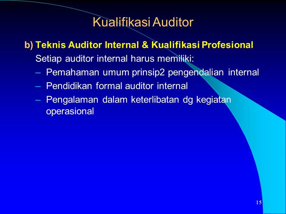 b)Teknis Auditor Internal & Kualifikasi Profesional Setiap auditor internal harus memiliki: –Pemahaman umum prinsip2 pengendalian internal –Pendidikan
