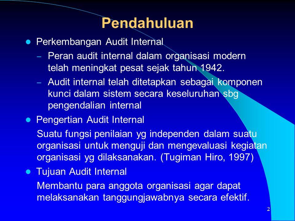 Pendahuluan Perkembangan Audit Internal – Peran audit internal dalam organisasi modern telah meningkat pesat sejak tahun 1942. – Audit internal telah