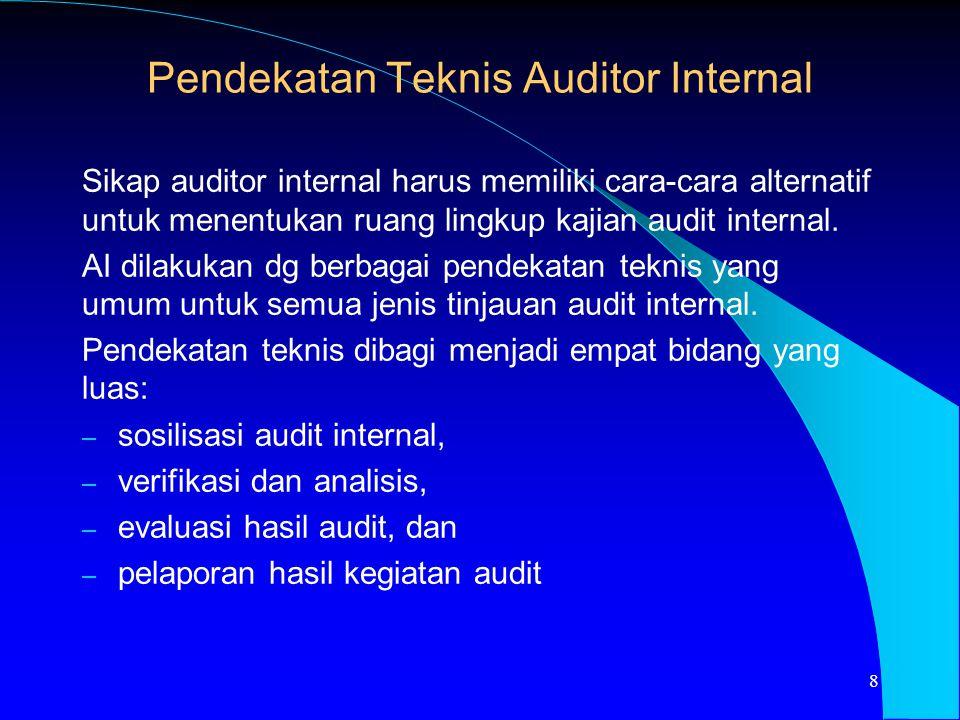 Pendekatan Teknis Auditor Internal Sikap auditor internal harus memiliki cara-cara alternatif untuk menentukan ruang lingkup kajian audit internal. AI
